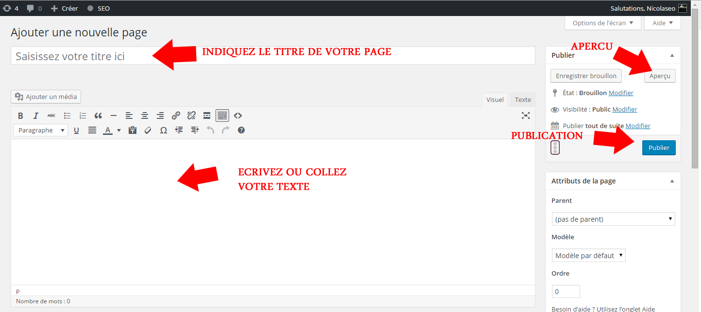 ajouter nouvelle page wordpress