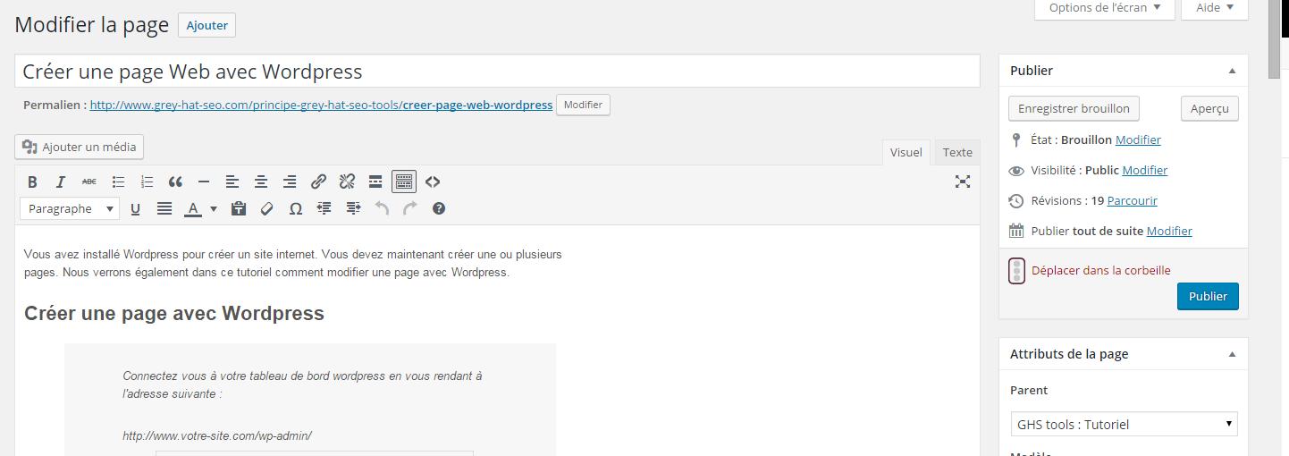 modifier page wordpress