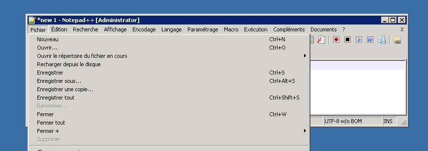 notepad fichier menu