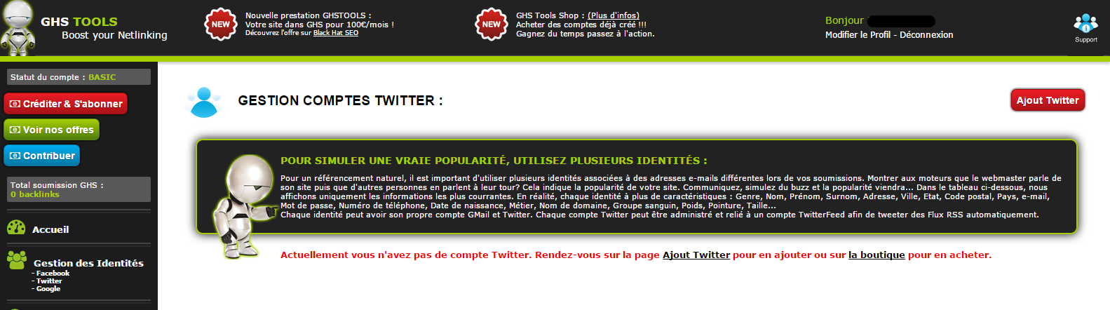 page gestion twitter